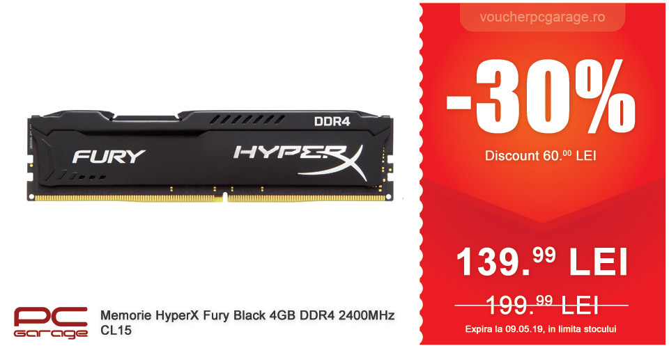 Memorie HyperX Fury Black 4GB DDR4 2400MHz CL15