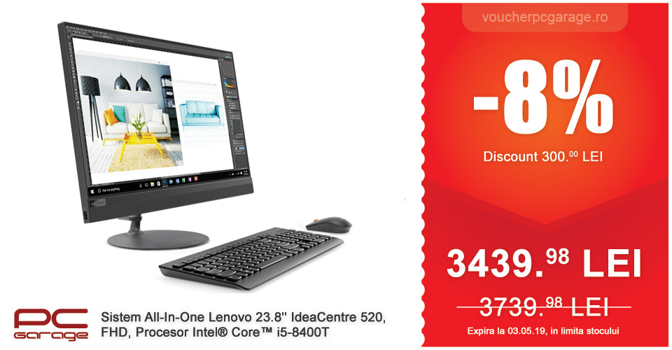 Sistem All-In-One Lenovo 23.8'' IdeaCentre 520, FHD, Procesor Intel Core i5