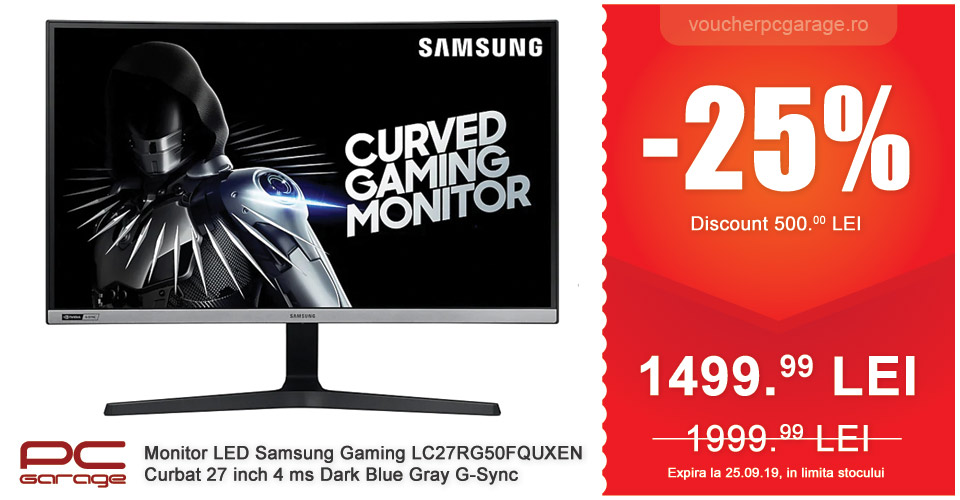 Monitor LED Samsung Gaming LC27RG50FQUXEN Curbat 27