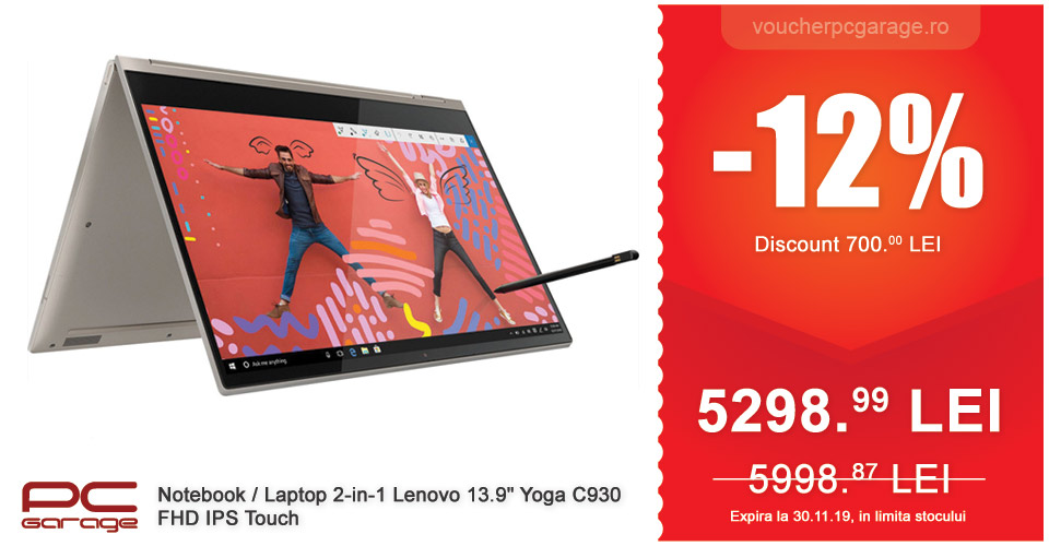 Notebook, Laptop 2-in-1 Lenovo 13.9 Yoga C930, FHD IPS Touch